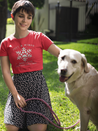 girl loves christmas and dogs