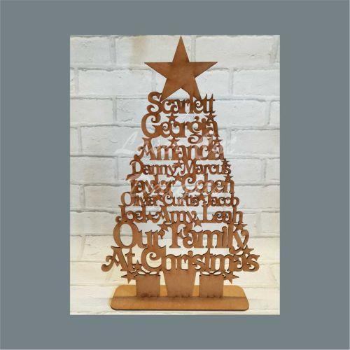 Christmas Family Names Wood