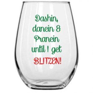 Christmas Wine & Drinking Glass