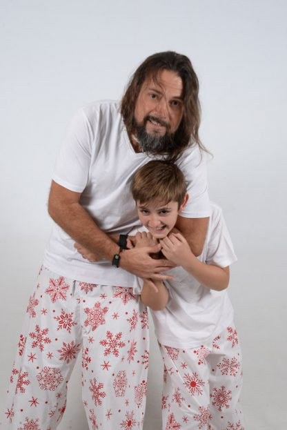 White and Red Snowflake Jammies hold 2