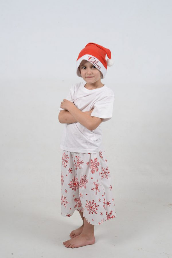 White and Red Snowflake Jammies Kid
