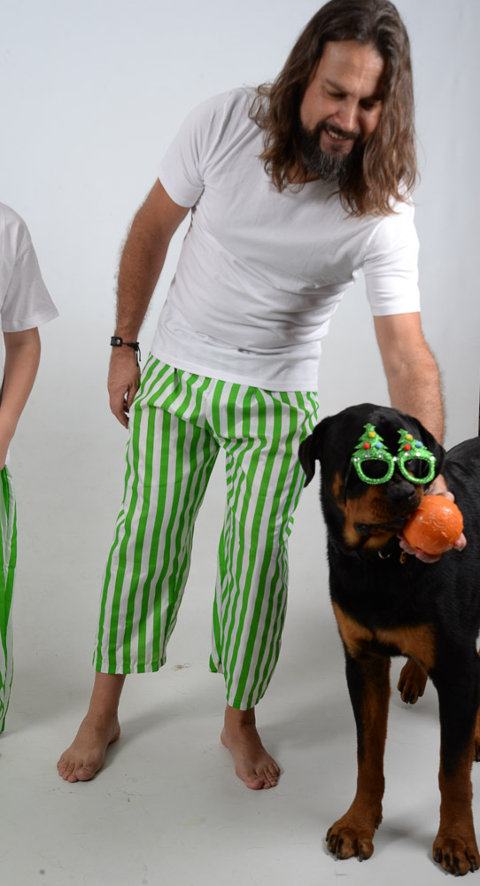 Green and White Stripes Jammies Dog 2