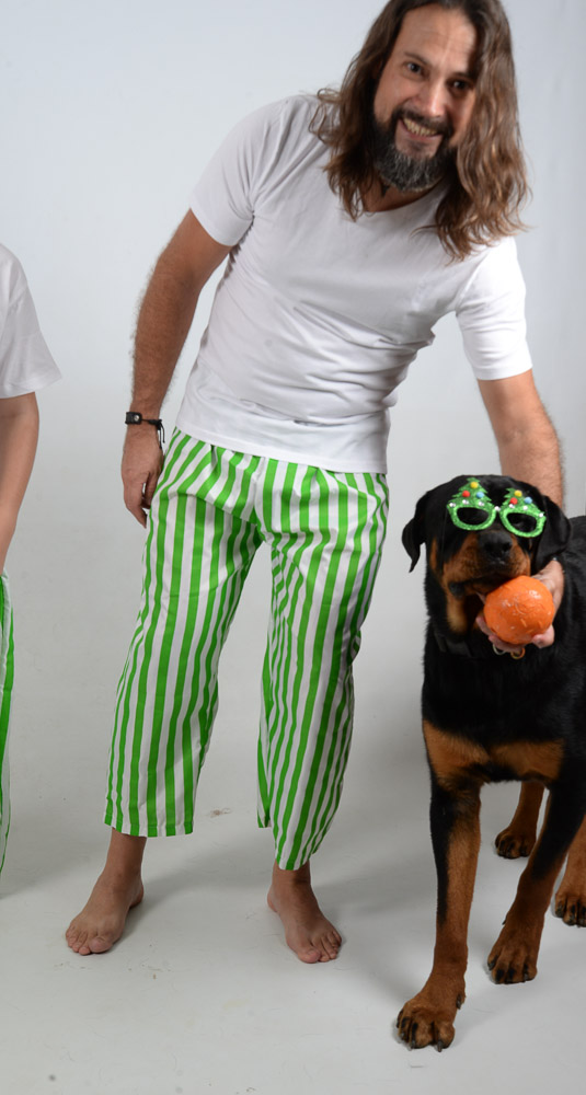 Green and White Stripes Jammies Dog