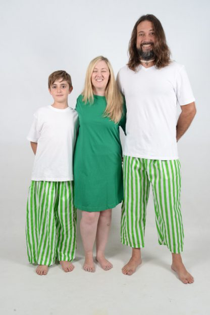 Green and White Stripes Jammies 2