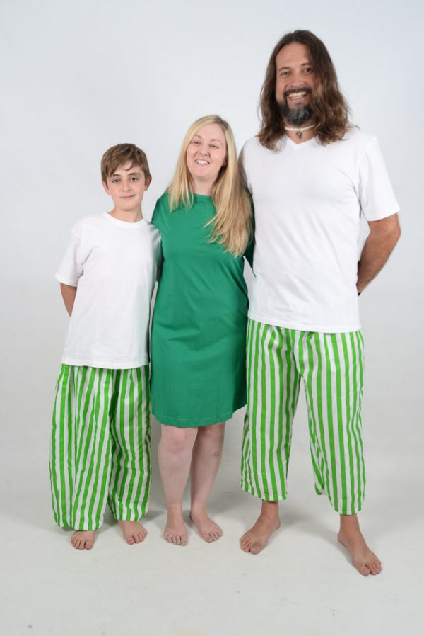 Green and White Stripes Jammies