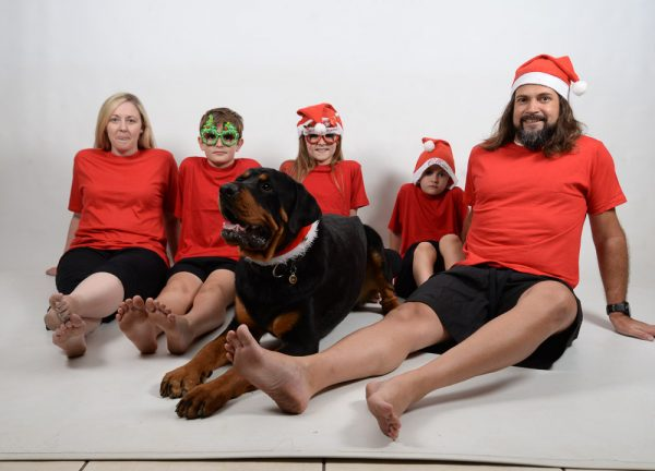 Family Xmas Red and Green Jammies dog 3